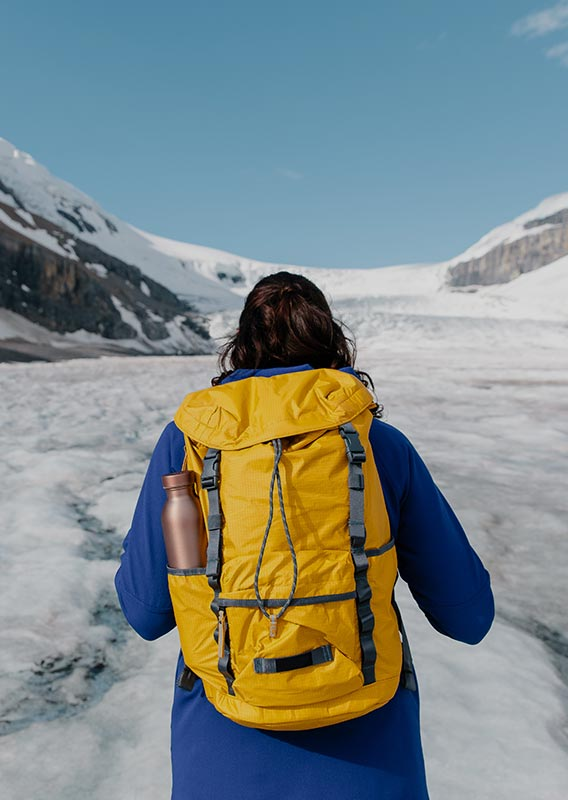 A person stands on a glacier looking towards a sweeping ice landscape.