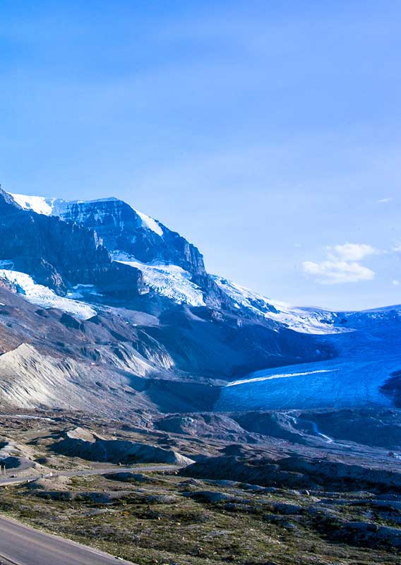 Views of the Columbia Icefield from the Glacier Discovery Center on the Icefields Parkway
