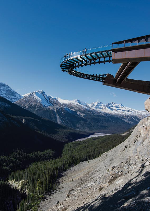 Glacier Skywalk viewed from below in Jasper National Park