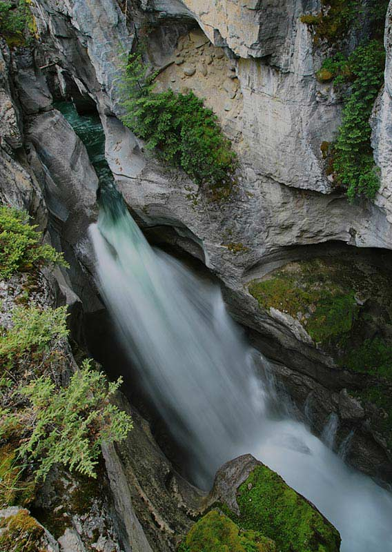 Flowing Waterfall in Maligne Canyon