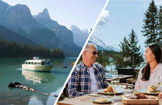 A Maligne Lake Cruise boat & couple on a patio for a meal in front of Maligne Lake views at The View