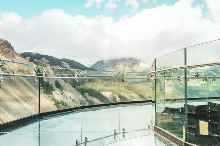 The glass platform and railing on the Columbia Icefield Skywalk