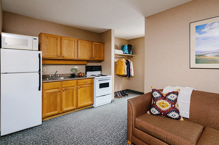 A kitchenette in a hotel room.