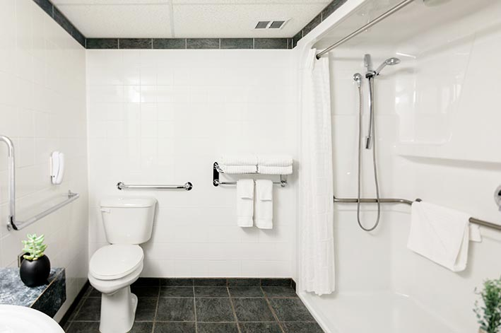 A hotel bathroom with accessible amenities