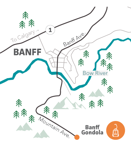 Map showing location of Banff Gondola on Mountain Ave.