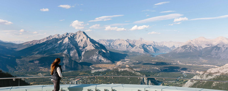 View of the Banff townsite from the observation deck at the Banff Gondola