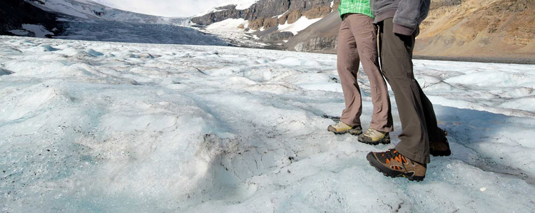 Comfortable and warm shoes on the glacier