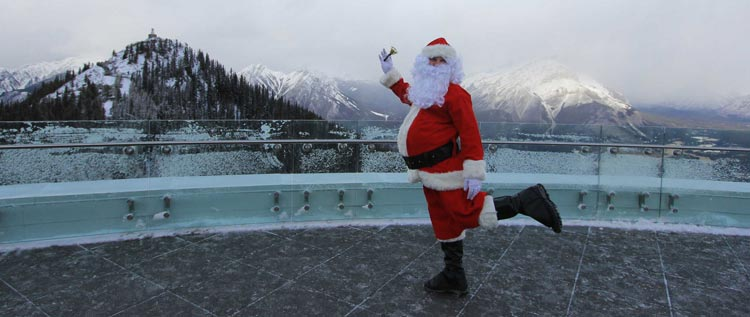 Santa on the rooftop patio at the Banff Gondola