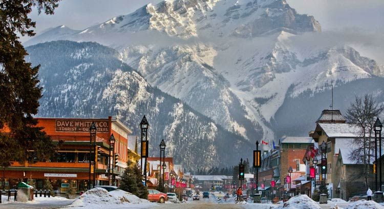 Downtown Banff with Cascade Mountain