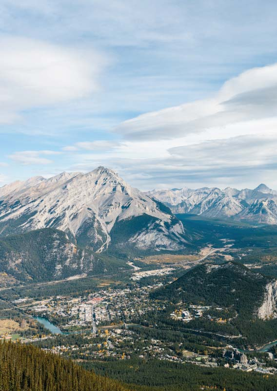 An aerial view of Banff, viewed from the Banff Gondola