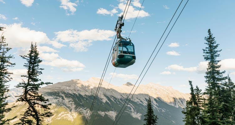 A gondola glides up above tree-covered mountains.
