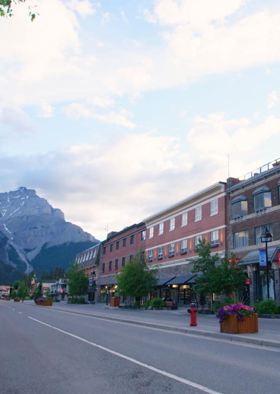 The exterior of the Mount Royal Hotel, along a wide avenue with mountains in the background.