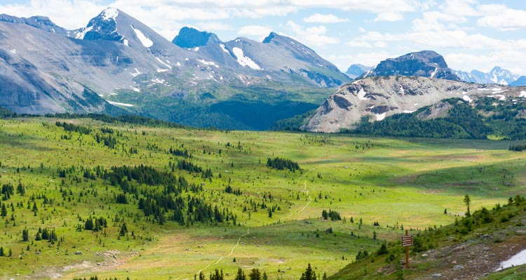 A wide green alpine meadow stretches between high rocky mountains.