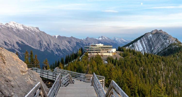 A view of the Banff Gondola summit building from the Sulphur Mountain Boardwalk.