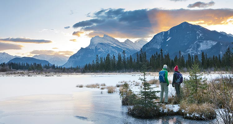 Two people stand in a wetland below mountains.