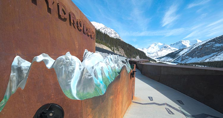 Looking along the Columbia Icefield Skywalk; the hydrology interpretive station.