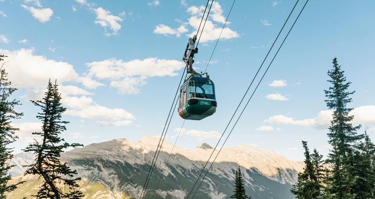 The Banff Gondola above the side of Sulphur Mountain.
