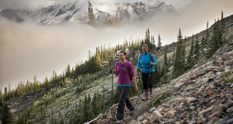 Two hikers on a rocky trail among small alpine trails.