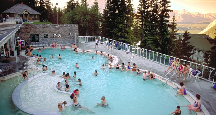 The Banff Upper Hot Springs pool above a mountain valley
