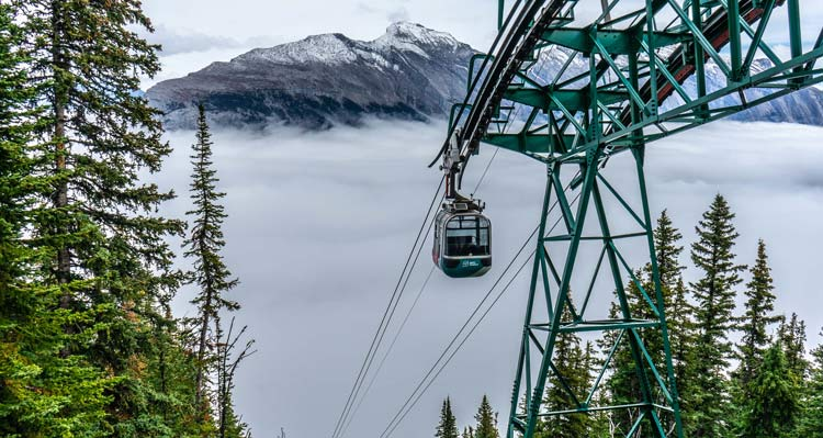 A Banff Gondola cabin rises to the top of Sulphur Mountain