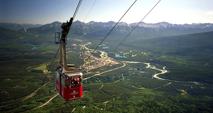The Jasper SkyTram going up the cables above the Town of Jasper
