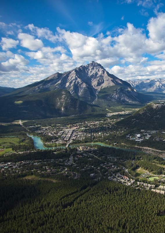 An aerial view of the town of Banff, built along a river and between mountains.