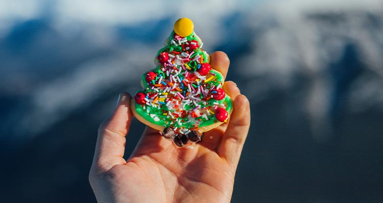 A person holds a Christmas tree cookie.