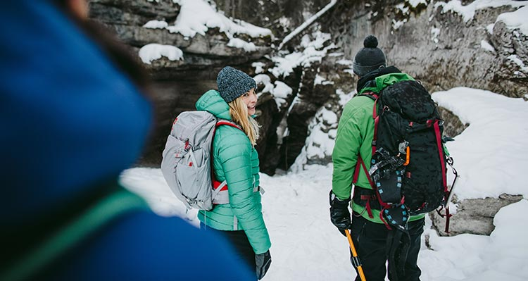 A group of people walk through an icy canyon.