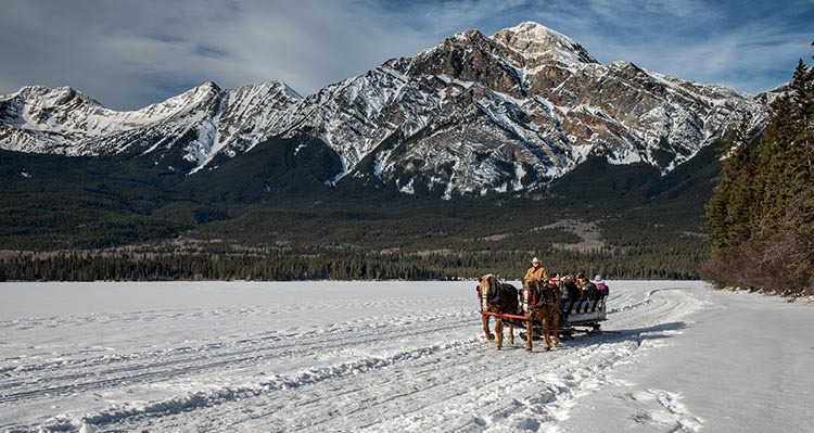 A horse-drawn sleigh along a snow-covered field below Pyramid Mountain