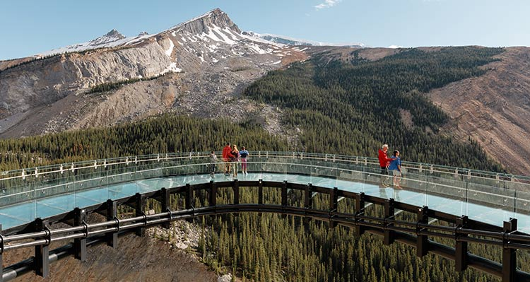 People stand on the Columbia Icefield Skywalk above a deep valley.