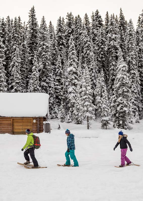 Three snowshoers walk near a wooden cabin and a forest.