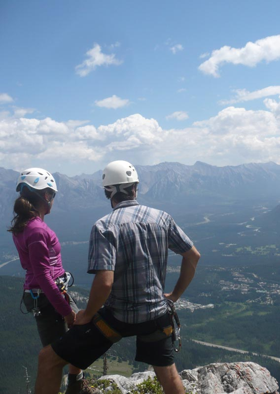 Looking out at Banff from the Via Ferrata