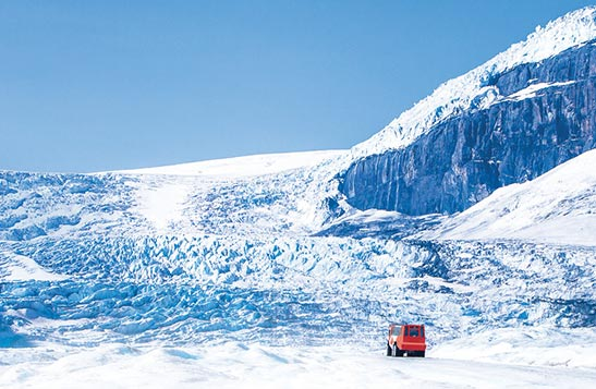 Ice explorer bus on Athabasca Glacier